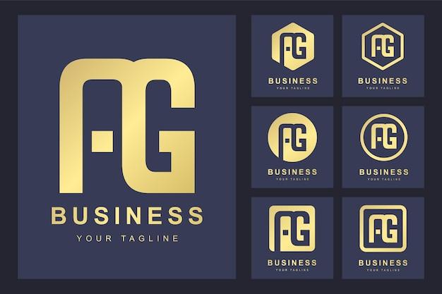 Zestaw Streszczenie Pierwsza Litera Ag, Złoty Szablon Logo. Premium Wektorów