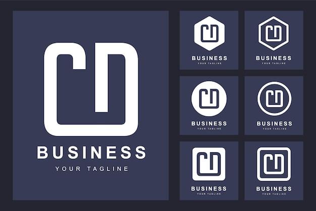 Zestaw Streszczenie Pierwsza Litera Cd, Szablon Logo. Premium Wektorów
