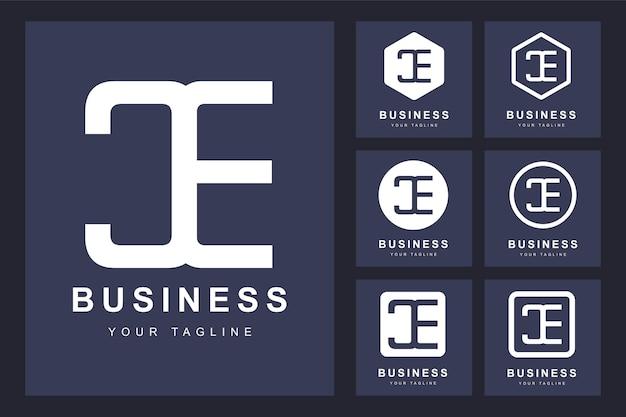 Zestaw Streszczenie Pierwsza Litera Ce, Szablon Logo. Premium Wektorów
