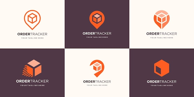 Zestaw Streszczenie Pudełko Z Projektem Logo Lokalizacji Pinezki. Premium Wektorów