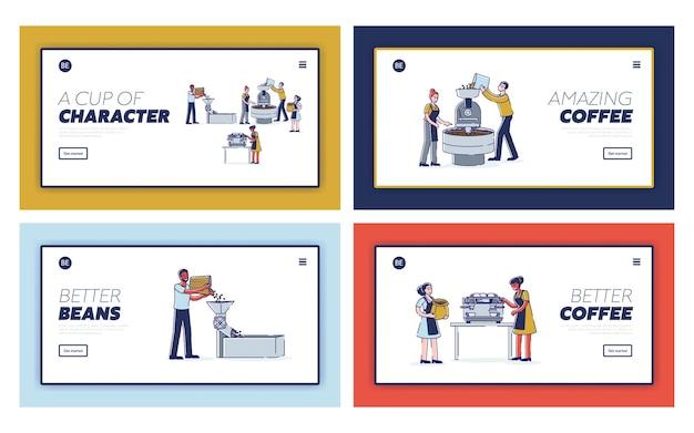 Zestaw Stron Docelowych Dla Etapów Produkcji Kawy Premium Wektorów