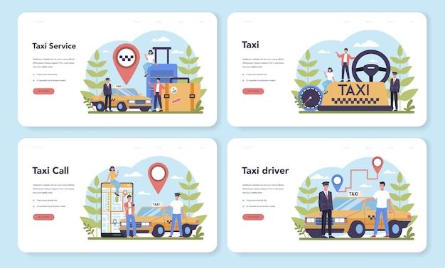 Zestaw Strony Docelowej Usługi Taksówki. żółty Samochód Taxi. Kabina Samochodowa Z Kierowcą W środku. Idea Publicznego Transportu Miejskiego. Izolowane Płaskie Ilustracja Premium Wektorów
