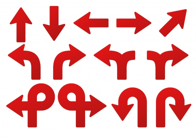 Zestaw strzałek. do wskazywania położenia czerwonej strzałki skierowanej w górę, w dół, w lewo i w prawo. Premium Wektorów