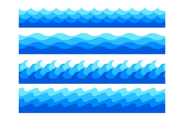Zestaw Stylowych Morskich Fal Morskich W Różnych Kształtach Darmowych Wektorów