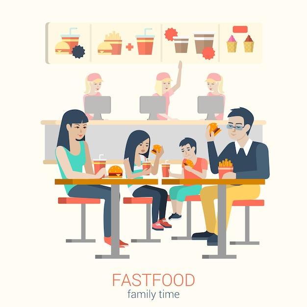Zestaw Stylowych Szczęśliwych Uśmiechniętych Rodzinnych Matek Ojca Córki Syna Postaci Siedzi Stół Fastfood, Jedzenie Frytek Burger. Płascy Ludzie Styl życia Koncepcja Fast Food Cafe Restauracja Czas Posiłku. Darmowych Wektorów
