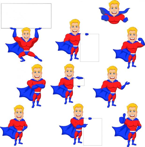 Zestaw superbohatera kreskówka z pusty znak Premium Wektorów