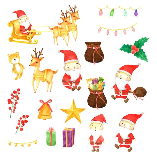 Zestaw świąteczny Akwarela Ręcznie Rysowane Malowane Premium Wektorów