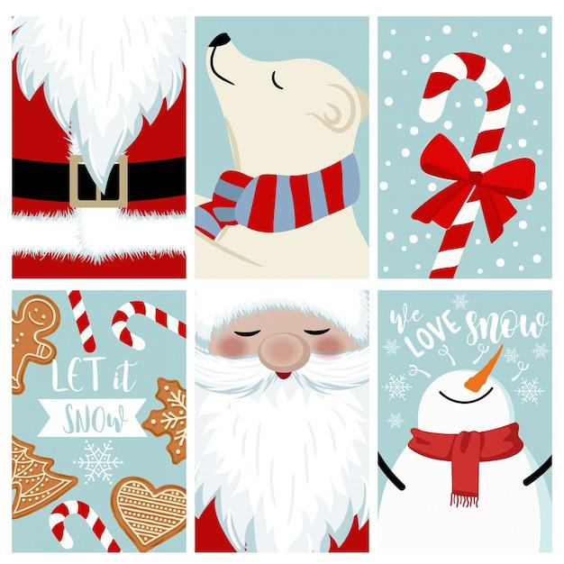 Zestaw świąteczny karty Premium Wektorów