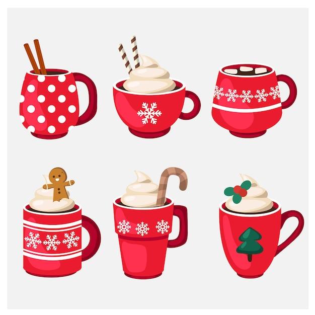 Zestaw świąteczny kubek świąteczny z gorącym napojem Premium Wektorów