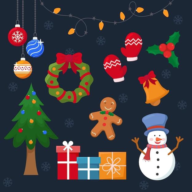 Zestaw świątecznych dekoracji płaska konstrukcja Darmowych Wektorów