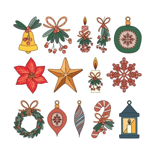 Zestaw świątecznych Elementów Płaskich Ilustracji Projektu Premium Wektorów