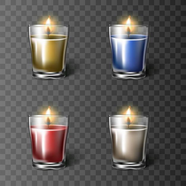 Zestaw świec W Szklanym Kubku W Kolorach Czerwonym, Białym, Niebieskim I Pomarańczowym, Na Białym Tle. Premium Wektorów