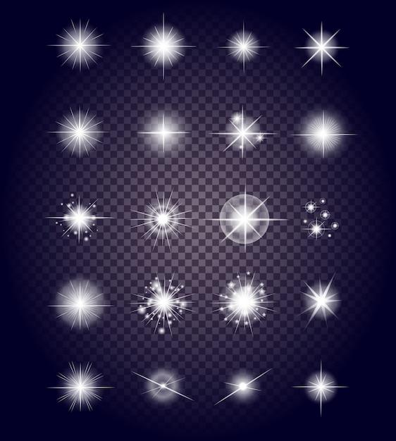 Zestaw świecących jasnych fajerwerków Premium Wektorów
