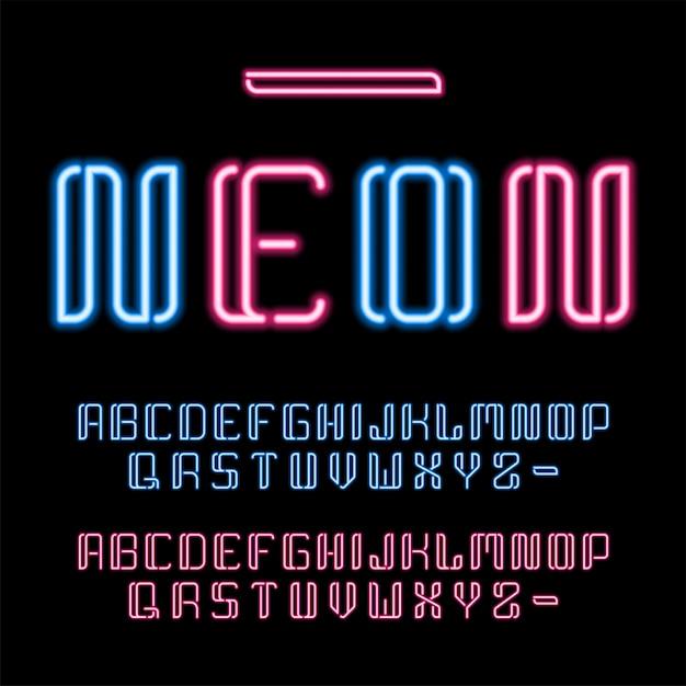 Zestaw świecących liter lat 80-tych Premium Wektorów