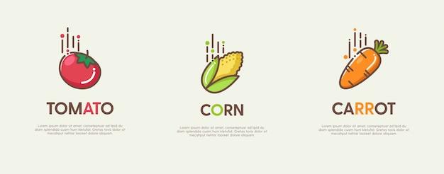 Zestaw świetnych Logo Z Ozdobnymi Płaskimi Owocami Premium Wektorów