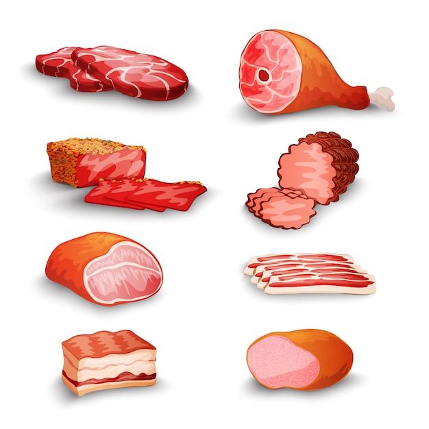 Zestaw świeżego mięsa Darmowych Wektorów