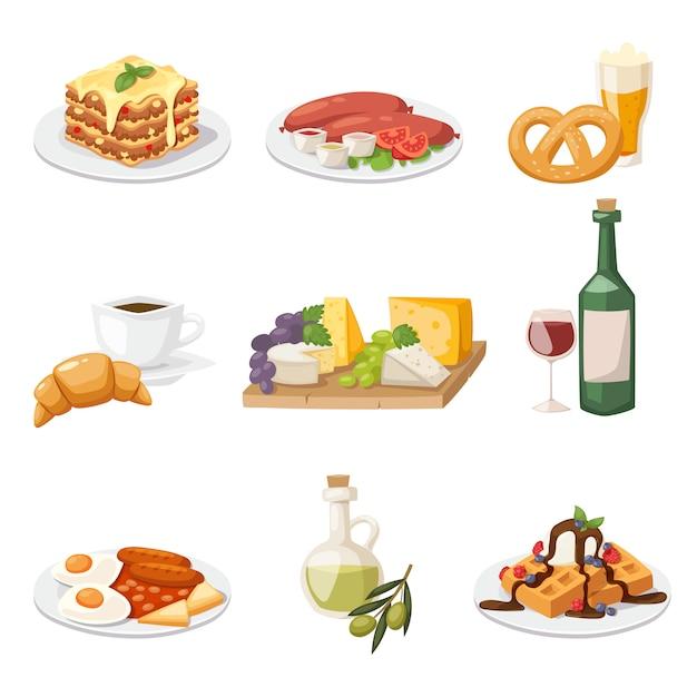 Zestaw świeżego porannego jedzenia. europejska śniadaniowa kreskówki wektoru ilustracja. Premium Wektorów