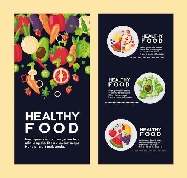 Zestaw świeżej Ulotki Zdrowej żywności Darmowych Wektorów
