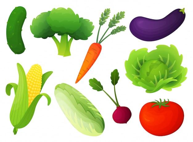 Zestaw świeżych Warzyw. Ilustracja Płaski Styl Zdrowej Diety. Pojedyncze Zielone Jedzenie, Może Być Używane W Menu Restauracji, Książkach Do Gotowania I Etykietach Ekologicznych Gospodarstw. Koncepcja Banerów Internetowych, Plansza Premium Wektorów