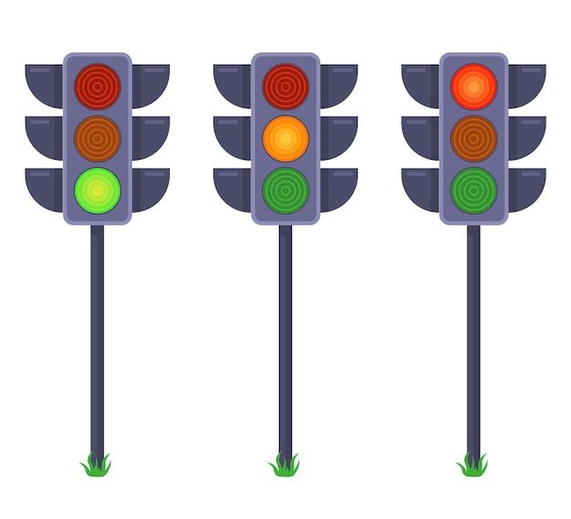 Zestaw Sygnalizacji świetlnej Przedstawiających Sygnały W Różnych Kolorach. Płaska Ilustracja Na Białym Tle. Premium Wektorów