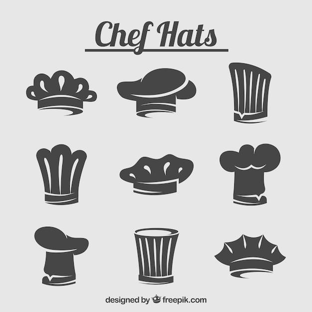 Zestaw sylweta kapelusz szefa kuchni Darmowych Wektorów