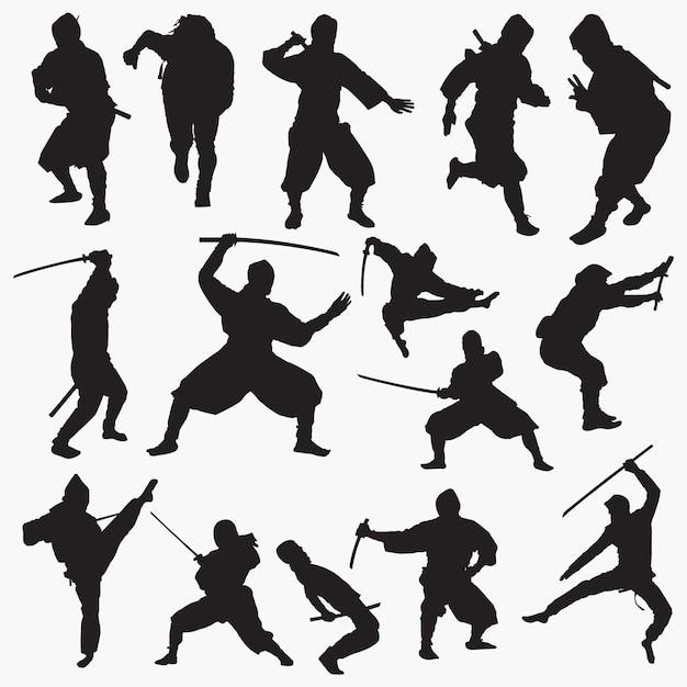 Zestaw Sylwetek Ninja Premium Wektorów