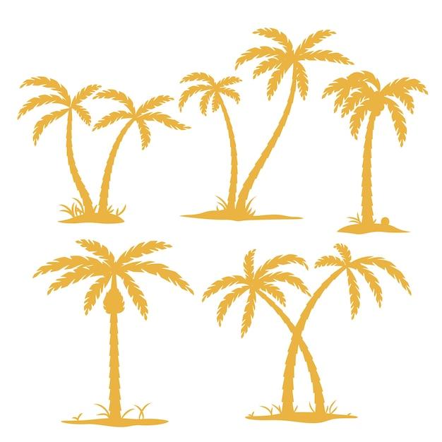 Zestaw Sylwetka Palmy Darmowych Wektorów