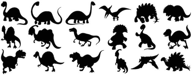 Zestaw Sylwetka Postać Z Kreskówki Dinozaura Darmowych Wektorów