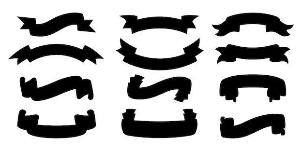 Zestaw Sylwetka Wstążki. Kolekcja W Stylu Pustego Czarnego Glifu Taśmy, Konturowe Ikony Dekoracyjne. Vintage Wzór Wstążki Znak. Zestaw Ikon Internetowych Z Taśmami Tekstowymi. Ilustracja Na Białym Tle Premium Wektorów