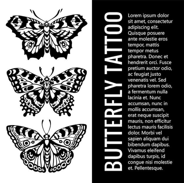 Zestaw Sylwetki Motyla. Motyl Tatuaż. Tropikalne Motyle. Mistyczny Symbol Piękna. Vintage Ilustracji Premium Wektorów