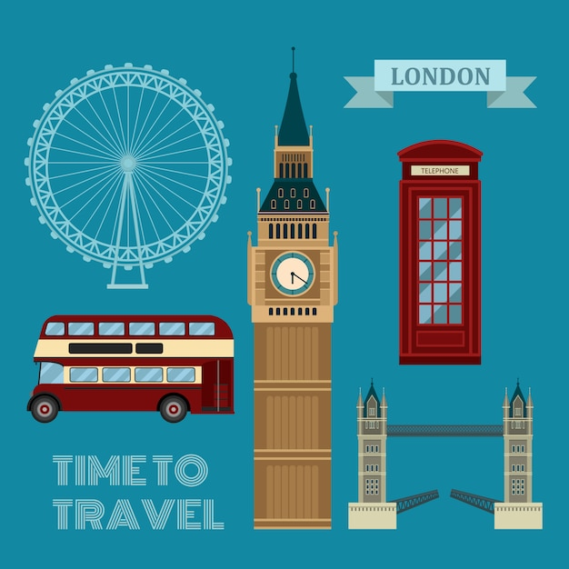 Zestaw symboli czasu podróży londyn Premium Wektorów