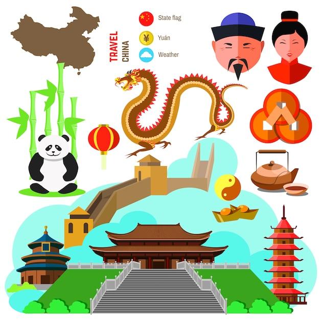 Zestaw Symboli Kultury Chińskiej. Premium Wektorów