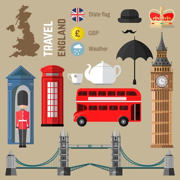 Zestaw symboli londyn / anglia. Premium Wektorów