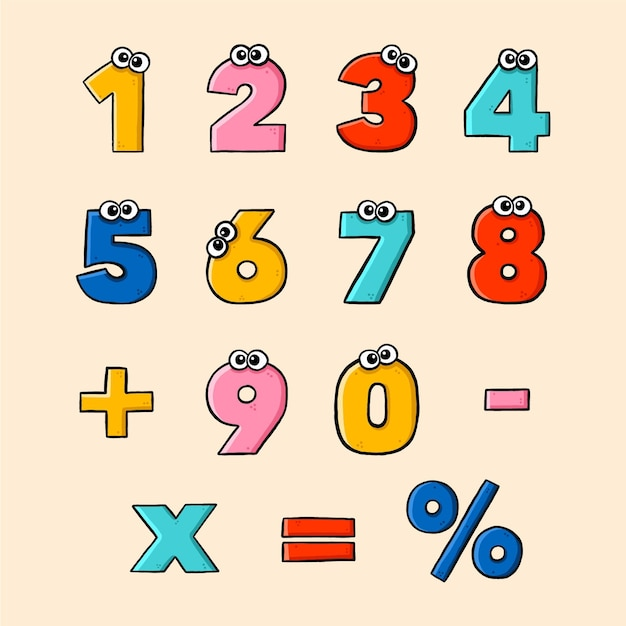 Zestaw Symboli Matematycznych Wyciągnąć Rękę Darmowych Wektorów