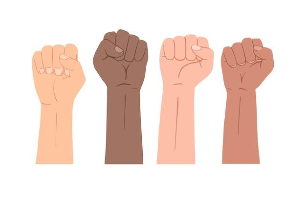 Zestaw Symboli Pięści Jest Podniesiony. Ręce Różnych Ras. Premium Wektorów