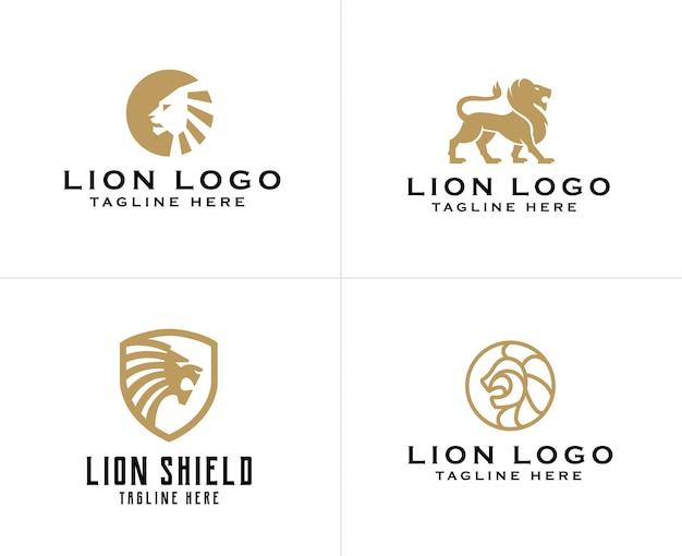 Zestaw szablon projektu logo złoty lew Premium Wektorów