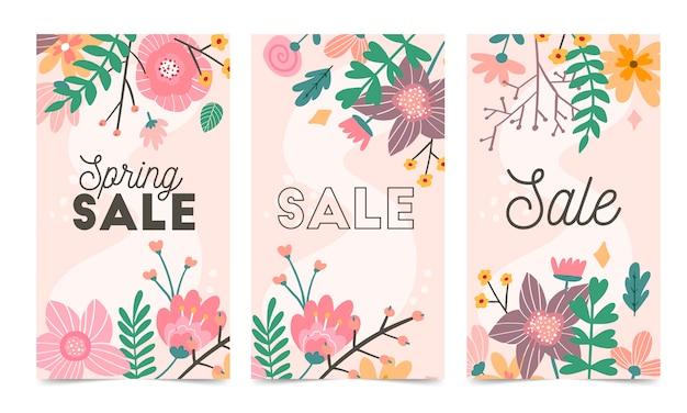 Zestaw Szablon Wektor Wiosennych Kwiatów Na Instagram Post, Historie Premium Wektorów