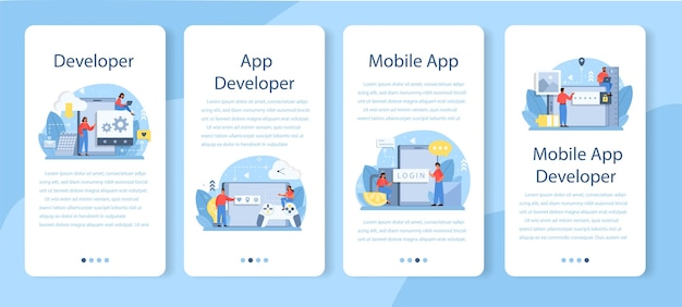 Zestaw Szablonów Aplikacji Mobilnych Do Tworzenia Aplikacji Mobilnych. Premium Wektorów
