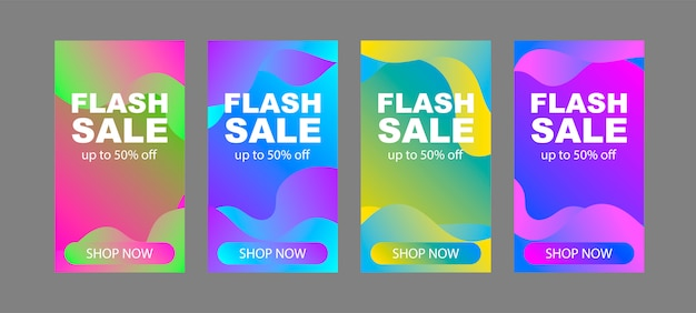 Zestaw Szablonów Banerów Sprzedaży Flash. Minimalistyczny Abstrakcyjny Wzór. Premium Wektorów
