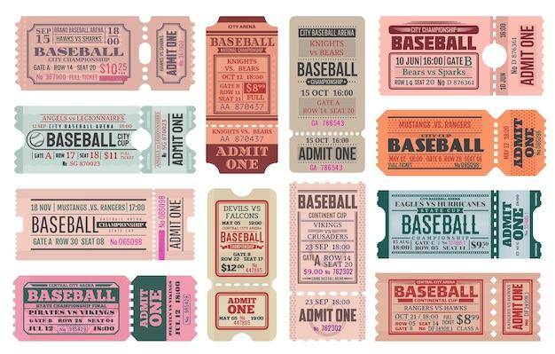 Zestaw Szablonów Biletów Retro Sport Gra W Baseball. Puchar Zawodów Drużynowych Lub Karnet Vintage Na Wydarzenie Sportowe. Premium Wektorów