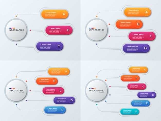 Zestaw Szablonów Biznesowych Plansza Prezentacji Z Opcjami 3'6 Premium Wektorów