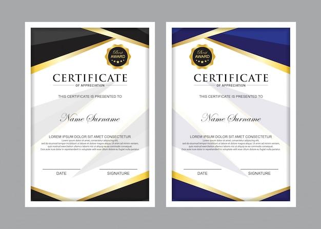 Zestaw szablonów certyfikatów premium w kolorze czarnym i niebieskim Premium Wektorów