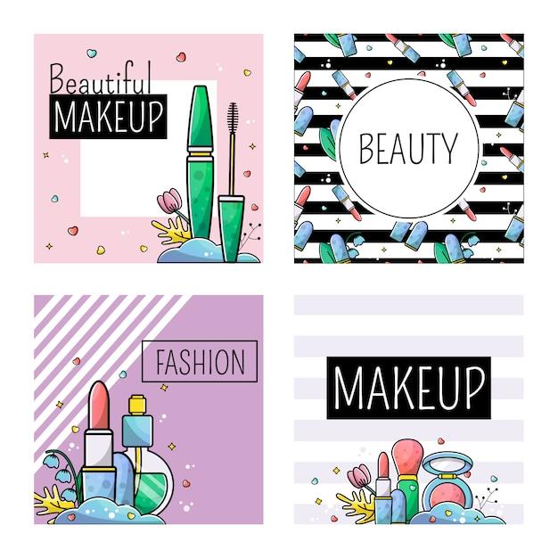 Zestaw Szablonów Dla Postu W Makijażu Instagram Premium Wektorów
