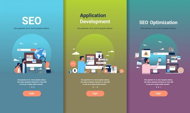 Zestaw szablonów do projektowania stron internetowych do optymalizacji seo i koncepcji rozwoju aplikacji różnych kolekcji biznesowych Premium Wektorów