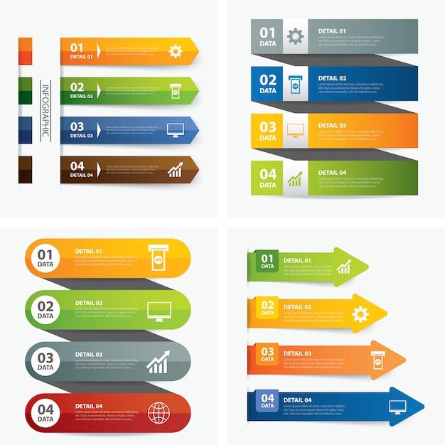 Zestaw szablonów infographic Premium Wektorów