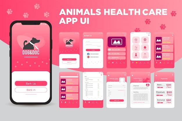 Zestaw Szablonów Interfejsu Aplikacji Aplikacji Health Healthcare Premium Wektorów