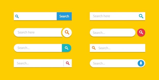 Zestaw Szablonów Interfejsu Użytkownika Pól Wyszukiwania, Pasek Wyszukiwania. Premium Wektorów