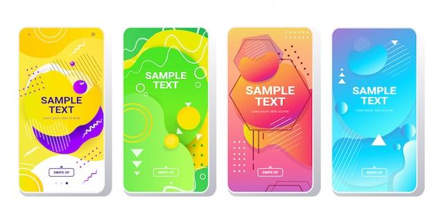 Zestaw Szablonów Internetowych Dynamiczne Kolorowe Gradienty Abstrakcyjne Banery Płynący Kształt Płynny Kolor Płyn Ekrany Smartfonów Kolekcja Online Aplikacja Mobilna Styl Memphis Poziomy Premium Wektorów