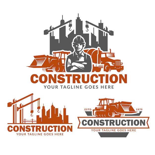 Zestaw szablonów logo budowy, wektor opakowanie logo budowlane Premium Wektorów