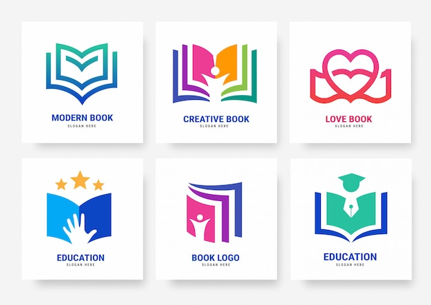 Zestaw szablonów logo książki Premium Wektorów